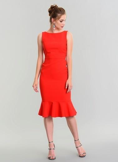 People By Fabrika Beli Fiyonklu Midi Elbise Kırmızı